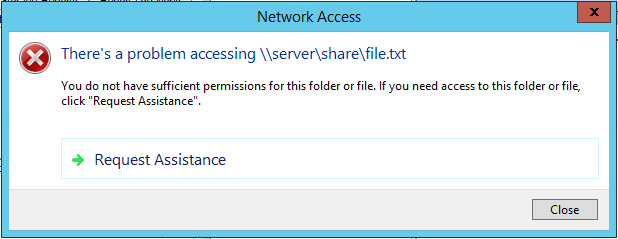 Windows Server: Create mail/ticket from access denied message with