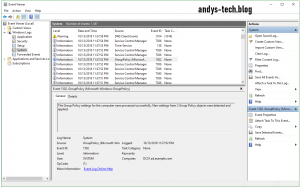 Event viewer group policy event