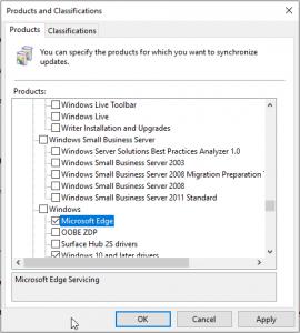 WSUS product Microsoft Edge
