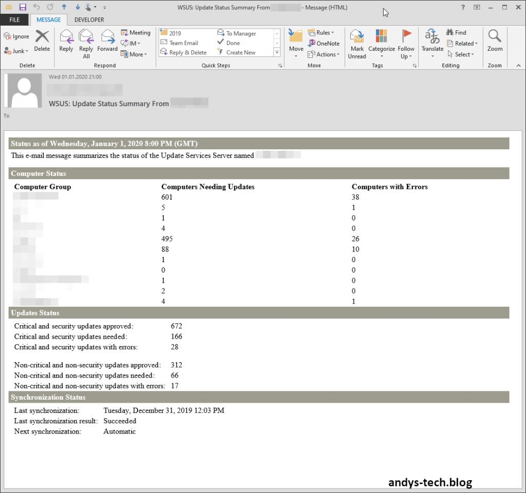 WSUS status mail