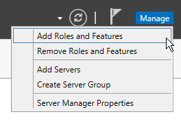Server manager: Add Roles and Features