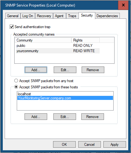 SNMP Security tab