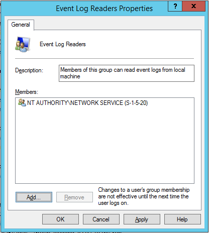 Add network service to Event Log Readers group